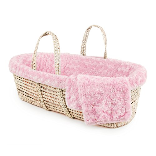 Tadpoles Twisted Fur Moses Basket and Bedding Set, Pink from Tadpoles