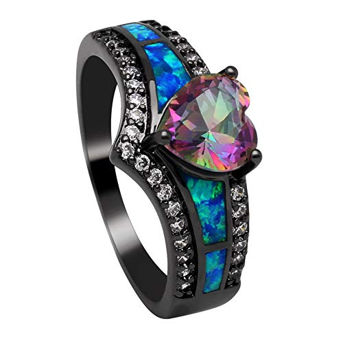 - HCBYJ Lady ring Lady Promise Ring Fire Opal Jewelry Heart Ring Love Black Couple Wedding Accessories and Female Engagement Ring