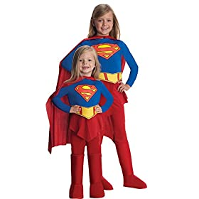 - 411wxoKnYrL - Rubie's Girl's Deluxe Supergirl Outfit Child Fancy Dress Halloween Costume