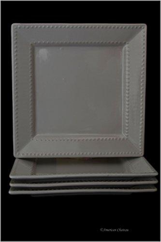 - Set 4 Tuscan-Style White Stoneware Square 10