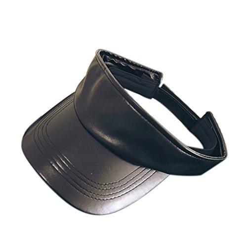 - Opromo Visor Sun Plain Hat Faux Leather Sport Cap Golf Tennis Adjustable Cap-Black