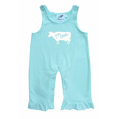 Baby and Toddler Overalls-Cow (2T, Light Mint w/ Ruffles)