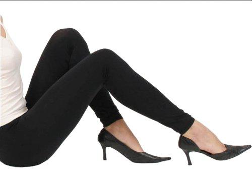 Damen Baumwoll Leggings Blickdichte Schwarz Stretch Baumwollleggings