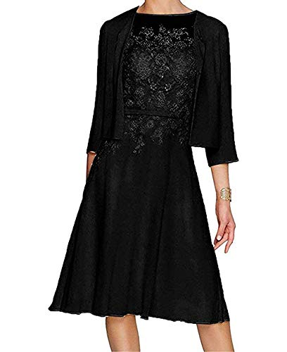 Dress Black Gowns Women Prom Jacket Bride Formal BOwith Lace The Mother Chiffon zxPwFt8