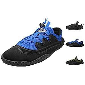 Men's Laced Water Shoes - Aqua Socks for Pool, Beach, Lake, Yoga, Exercise with Drawsting Closure - Available in 3 Colors (10, Black/Royal)