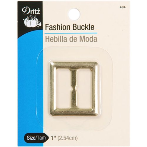 Dritz 494 Fashion Buckle with Square Design 1-Inch Gold Metallic - Stitch Decorative Design Gold