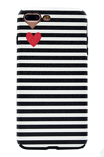 AlphaCell Designer Case compatible with iPhone 7 Plus/8 Plus Case | Sleek Black & White Charlotte Kinetic Striped (Artsy Lovely Cute Mini Red Heart) | Slim Protective Soft Silicone Cover | Snug Fit