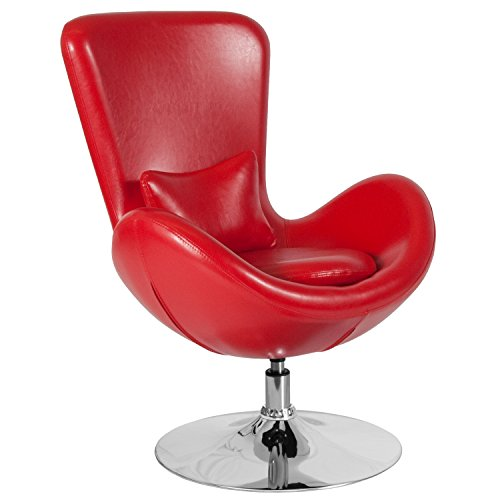 Flash Furniture Egg Series Red Leather Side Reception Chair