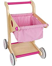 SM SunniMix Wood Shopping CART Pre-School Young Children Toddler Wooden Toy Trolley