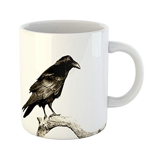 (Emvency Coffee Tea Mug Gift 11 Ounces Funny Ceramic Black Birds Perched Common Raven Corvus Corax Halloween Crow Gifts For Family Friends Coworkers Boss)