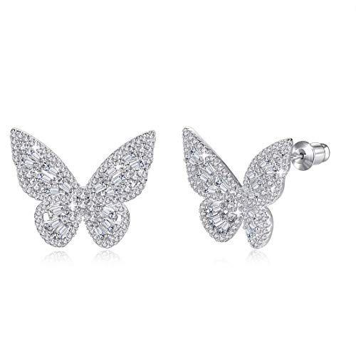Women Statement Butterfly Stud Earrings Silver Plated White Cubic Zirconia Fashion Fine Jewelry Accessories 1 Pair- VE4 White