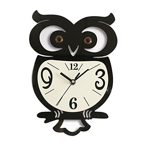 shsyue Owl Wall Clock, Acrylic Pendulum Clock Decoration Wall Sticker Clock, - Clock Shaped Owl