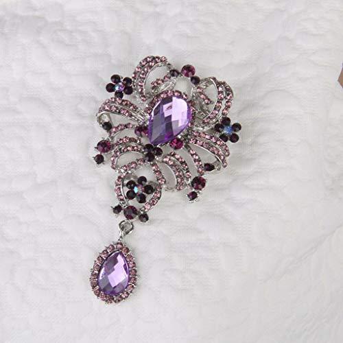 Fashion Large Flower Rhinestone Charm Women Bridal Wedding Party Brooch Pin (Color - Purple)