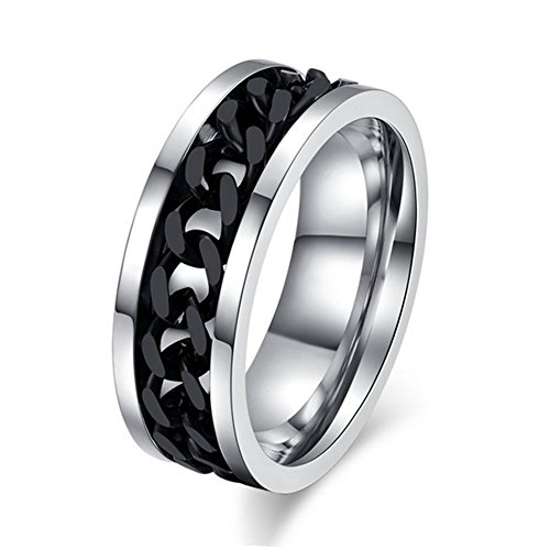 [Cheo Rish Stainless Steel Rings With Rotable Black Steel Chain.] (Mens Dallas Cowboy Football Costumes)
