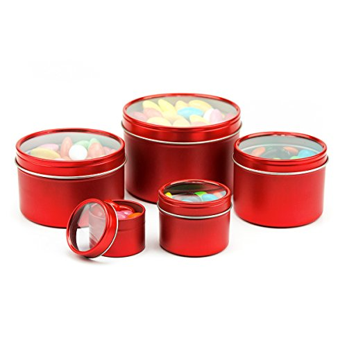 Mimi Pack 1 oz LIMITED RUN SERIES Small Deep Round Tin Can Clear Window Top Lid Steel Containers For Favors, Spices, Balms, Gels, Candles, Gifts, Storage 24 Pack (Metallic Red)