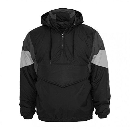 Urban Classics Nylon Hoody TB569, couleur:black/darkgrey/ruby;taille:XXL