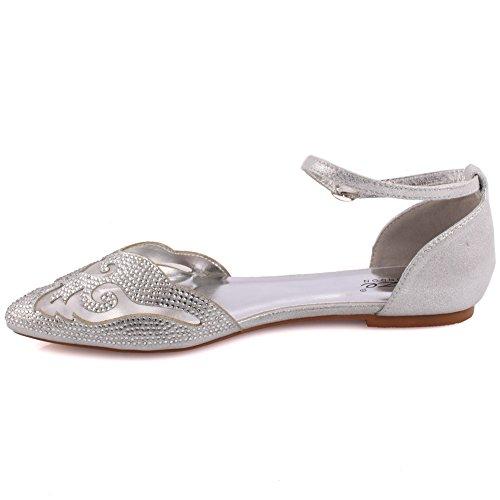 Chaussures Fermé 3 Ball Diamante Femmes Prom Prévue Les 8 Sur Argent Découpe 'elteina' À Toe Unze Embellished Ballerine Flat Parti Soir Bride Glisser Tailles qHfA1