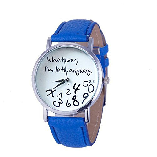 Womens Quartz Watches with Words,POTO Unique Analog Fashion Clearance Lady Watches Female Watches on Sale Casual Wrist Watches for Women,Alloy Round Dial Case Comfortable PU Leather Watch (Blue) ()