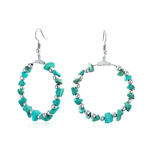Boho Stabilized Turquoise Chip Circle Round Large Hoop Earrings For Women For Teen Silver Tone Plated Brass 3 Inch Dia ()