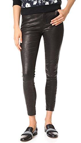 Black Lambskin Leather Pants - J Brand Women's High Rise Alana Crop Leather Pants, Black, 28