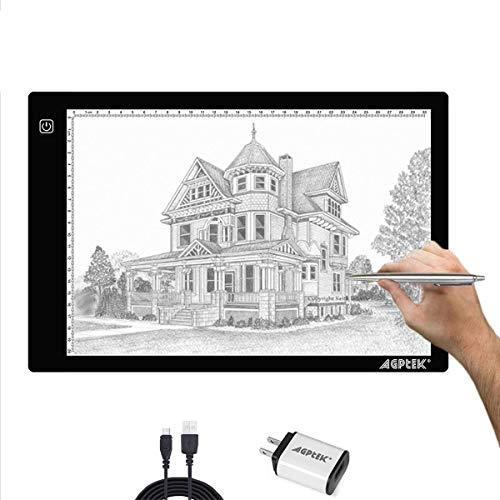(AGPtek A4 Ultra-thin Portable LED Artcraft Tracing Light Pad USB Cable + Wall Adapter Powered Brightness Control For Artists, Drawing, Sketching, Animation, X-ray Viewing, Sewing, Tattoo,)