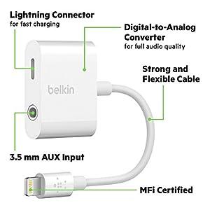 Belkin 3.5 mm Audio + Charge RockStar Adapter for iPhone X, iPhone 8, iPhone 8 Plus, iPhone 7 and iPhone 7 Plus by Belkin Inc.