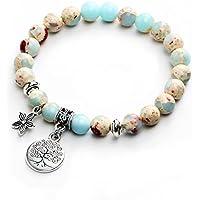 17mile Buddhism Faith Lotus Charm Bracelet Natural Stone Totem Yoga Gemstone Prayer Bracelet for Unisex