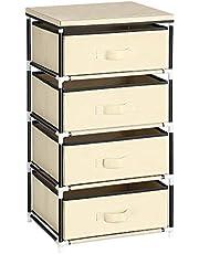 SONGMICS Ladenkast, niet-geweven stoffen opbergunit met 4 laden, kledingkast organizer, nachtkastje, multifunctioneel, metalen frame, voor slaapkamer kantoor woonkamer