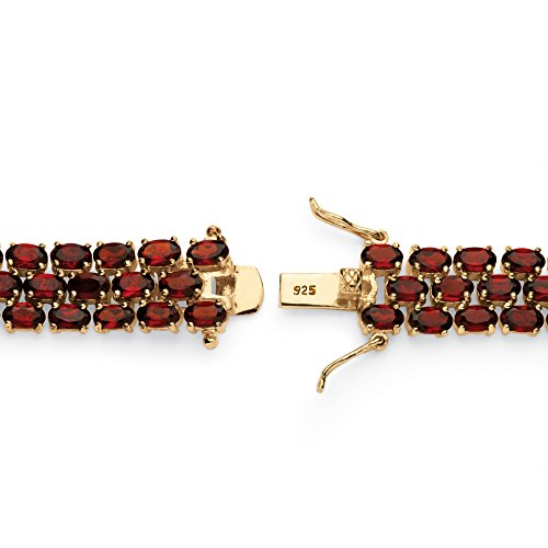 Genuine Red Garnet 14k Yellow Gold over .925 Sterling Silver Tennis Bracelet 7.25'' by Palm Beach Jewelry (Image #1)