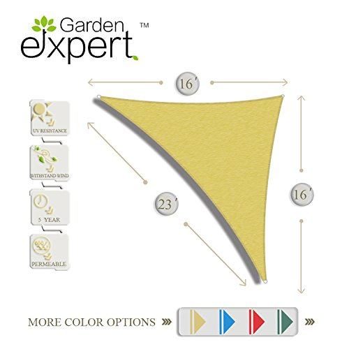 16'x16'x23' Sun Shade Sail Right Triangle Sail Shade Canopy for Patio Garden Outdoor Facility and Activities,Sand by Garden EXPERT