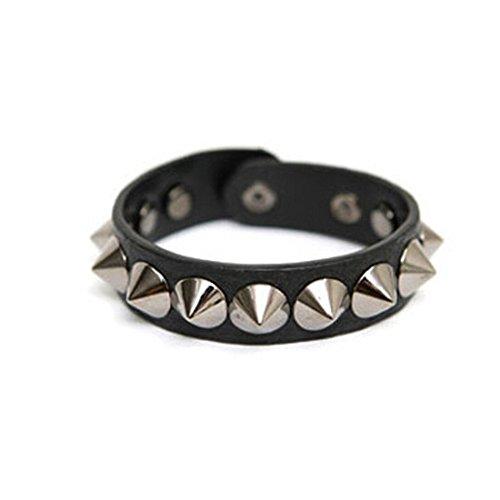 Voberry® Rivet Punk Leather Casual Fashion Studs Bracelet Wristband (Black)