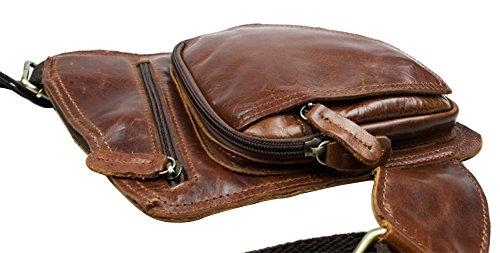Genda 2Archer piel genuine Militar Cross-Body Pecho Paquete Bolso honda Bolsas escuela (marrón) rojo marrón