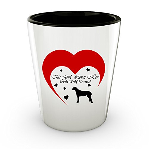 Four Legged Wolf Costume (This Girl Loves Her Irish Wolfhound Dog - White Shot Glass - 1.5 oz - Ceramic - Perfect Gift For Birthday, Christmass & Special Occasions)