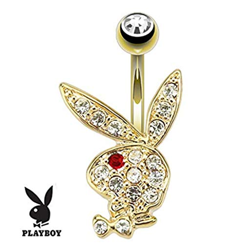 Inspiration Dezigns 14GA Multi Paved Gems on Playboy Bunny 14kt Gold Plated Navel Ring (Clear/Red) ()
