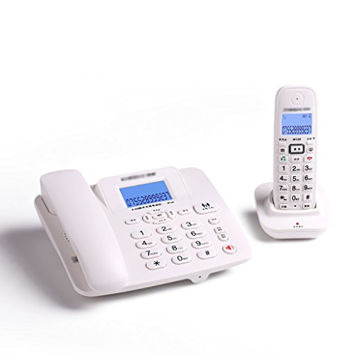 Zfusshop Corded Telephone Digital Cordless Phone Set with LCD Display Fixed-line Push-Button Telephone with Answer Machine - Pack of 2 School,Home,Office,Business,Hands Free,Classic (Color : White) (Retro Phone With Answer Machine)