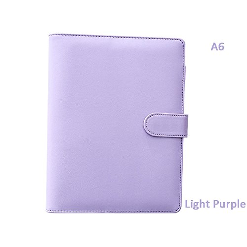 ToiM Macaroon Color Loose-leaf Notebook Hand Books for Diary PU Leather Journal Writing Notebook Handbook Notepad Business Hand Books Great Stationery (A6, Light Purple) by ToiM