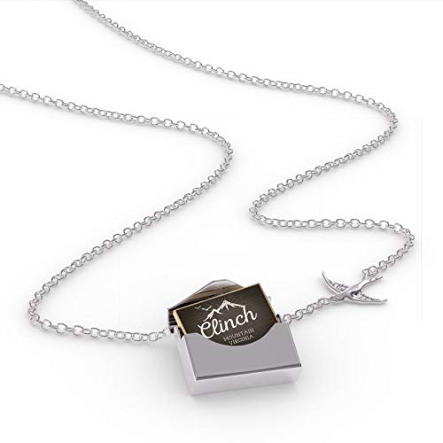 NEONBLOND Locket Necklace Mountains Chalkboard Clinch Mountain - Virginia in a Silver Envelope