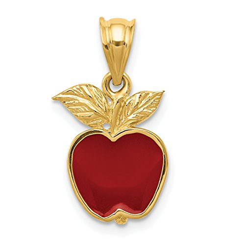 Mireval 14k Yellow Gold Polished Red Enameled Apple Pendant (10 x 20 mm) (Yellow Gold Enameled Apple)