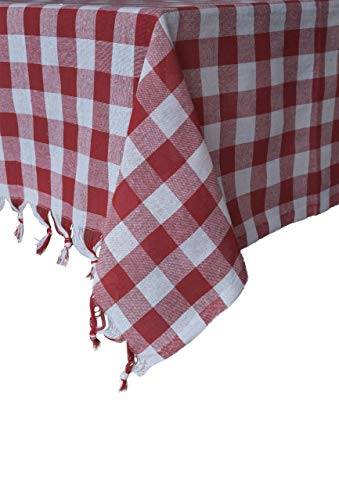(Tablecloth Checkered Buffalo Check Plaid Linen Cotton Picnic Blanket Table Cover Mantel (Red and White, 55 x 55''))