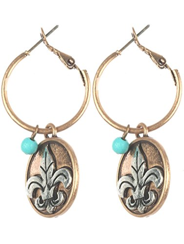 oin Charm/Mini Hoop/Fleur DE LIS/Lucite Bead/Aged Finish Metal/Two Tone/Textured/Lever Back/1 1/2 INCH Drop/Nickel and Lead Compliant ()
