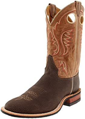 """Justin Boots Men's U.S.A. Bent Rail Collection 11"""" Boot Low Profile Single Stitch Toe Performance Performance Rubber Outsole,Chocolate Bisonte/Worn Tan Cowhide,9 A US"""