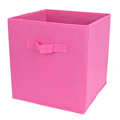 Uworld Single Handle Nonwoven Storage Bins,Foldable Cube Organizers Basket Without Cover (Fushia)