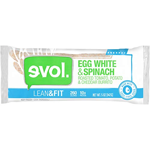 - EVOL Lean and Fit Egg White and Spinach Breakfast Burrito, 10 Grams of Protein Per Serving, 5 Ounce (Frozen)