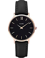 Cluse Womens Minuit 33mm Black Leather Band Metal Case Quartz Analog Watch CL30022