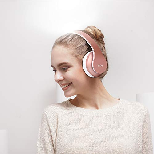 MKay Bluetooth Headphones Wireless, Over Ear Headset V5.0 with Microphone, Foldable & Lightweight, Support Tf Card MP3 Mode and Fm Radio for Cellphones Laptop TV-Rose Gold by MKay (Image #4)