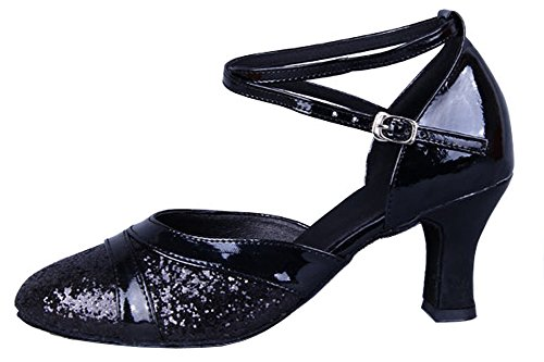 Latin Round Dance Shoes Toe Black Sequins Honeystore Women's IqfwH