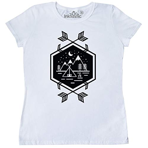 3301 Icon - inktastic - Camping Tent Icon with Arrows Women's T-Shirt Large White 36257