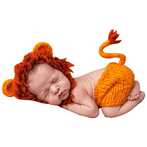 18 Month Old Lion Costume (Newborn Baby Lovely Cartoon Animal Photography Costume Set, Dumanfs Knitted Crochet Photography Props Cap Hat Pants (Lion))