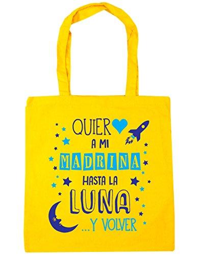 HippoWarehouse ¡Quiero a mi Madrina hasta la Luna y volver! (Azul) Bolso de Playa Bolsa Compra Con Asas para gimnasio 42cm x 38cm 10 litros capacidad Amarillo