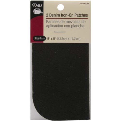 Dritz 55240-1D Denim Iron-On Patches, Black, 5 by 5-Inch, 2-Pack (Iron On Fabric Patch Denim compare prices)